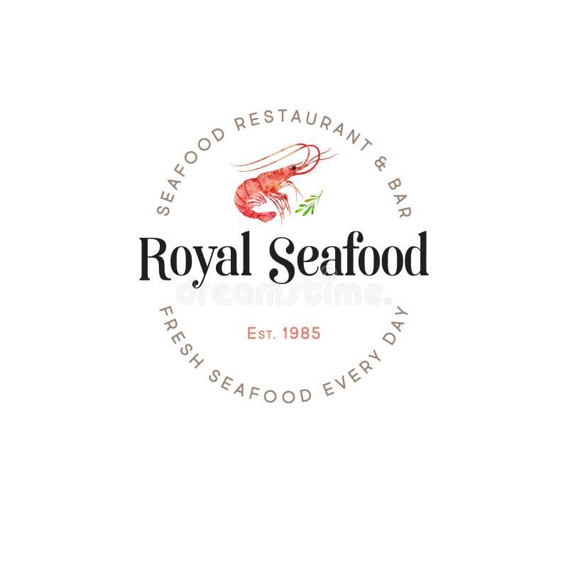 Het embleem van het zeevruchtenrestaurant rode garnaal De illustratieembleem van waterverfgarnalen royalty-vrije illustratie