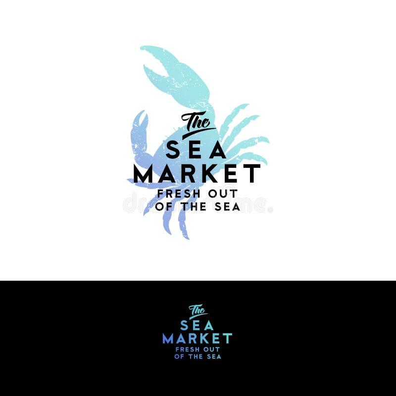 Het embleem van het zeevruchtenrestaurant Het silhouet van de waterverfkrab op een donkere achtergrond wordt geïsoleerd die stock illustratie