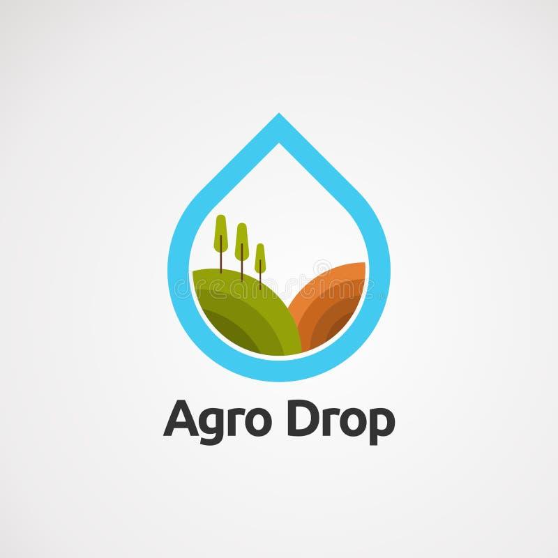 Het embleem vectorconcept, pictogram, element, en malplaatje van de landbouwdaling voor bedrijf royalty-vrije illustratie