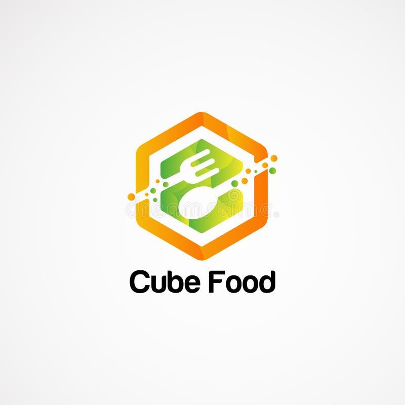 Het embleem vectorconcept, pictogram, element, en malplaatje van het kubusvoedsel voor bedrijf royalty-vrije illustratie