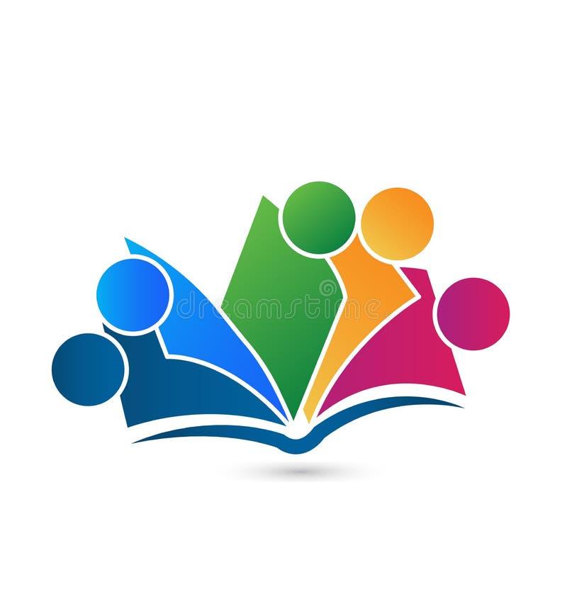Het embleem vectoronderwijs van het groepswerkboek vector illustratie