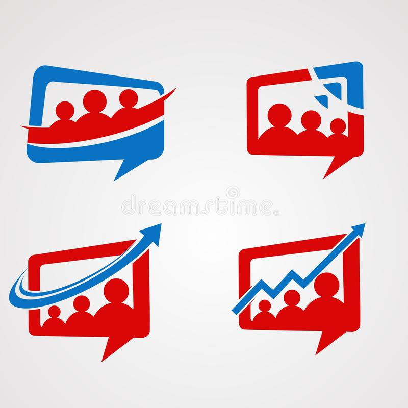 Het embleem vectorreeks, pictogram, element, en malplaatje van het familiepraatje voor bedrijf vector illustratie