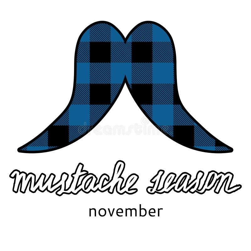 Het embleembeeld van de Movembersnor Het pictogram van het snorseizoen stock illustratie