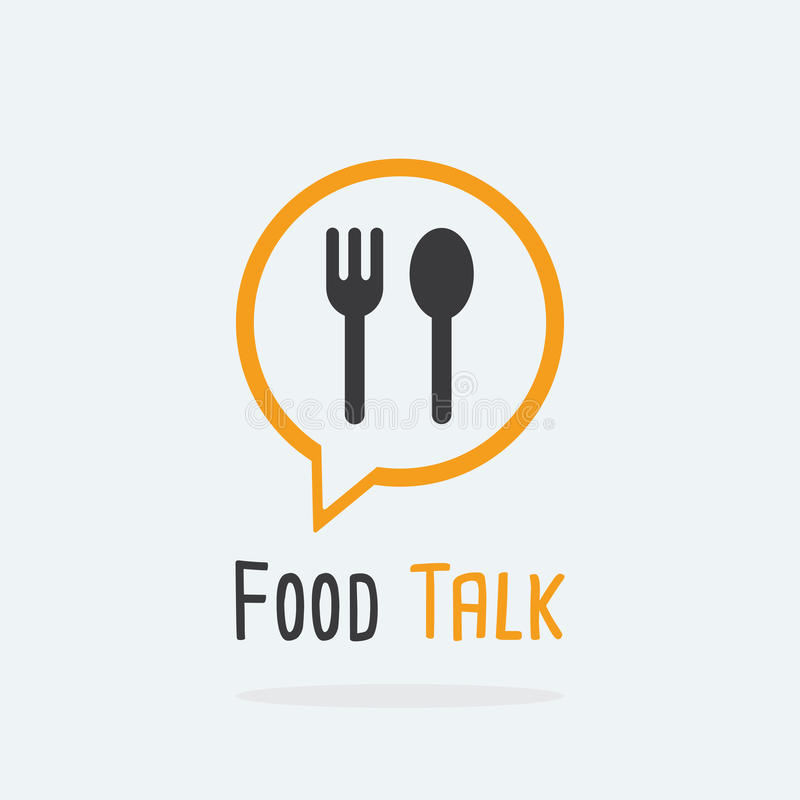 Het embleemconcept van de voedselbespreking met lepel en vorkpictogram royalty-vrije stock afbeeldingen