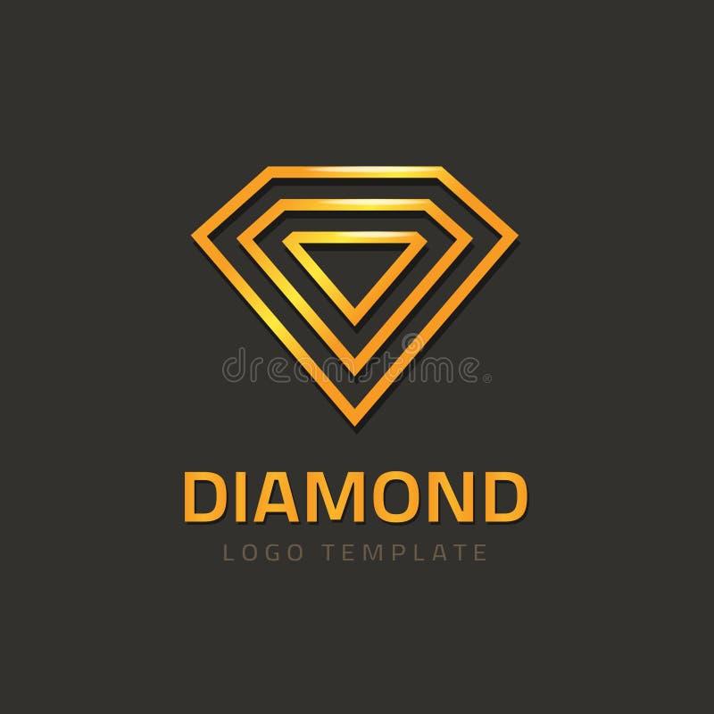 Het embleemconcept van het diamant logotype vector, gouden juweel juwelenmerk vector illustratie
