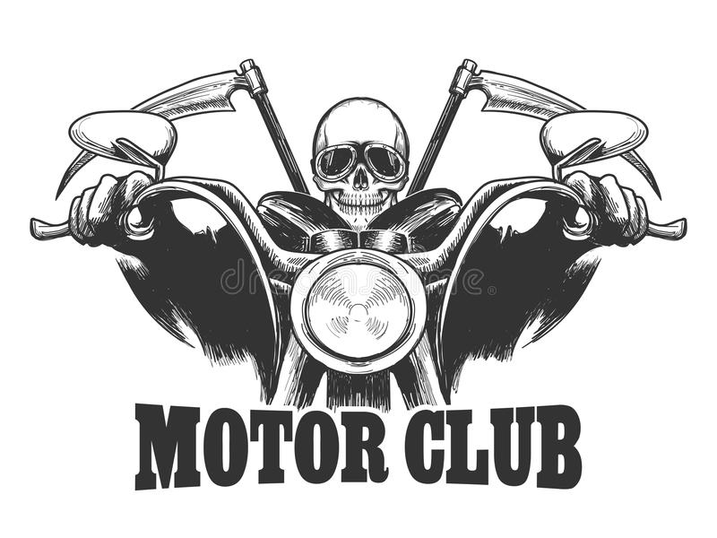 Het Embleemdood van de motorclub op een motorfiets in glazen met zeis vector illustratie