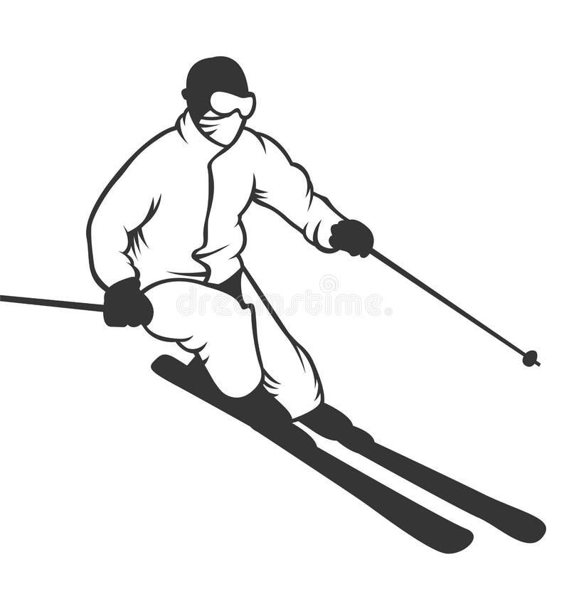Het embleememblemen van de skitoevlucht, de vector van etikettenkentekens stock illustratie