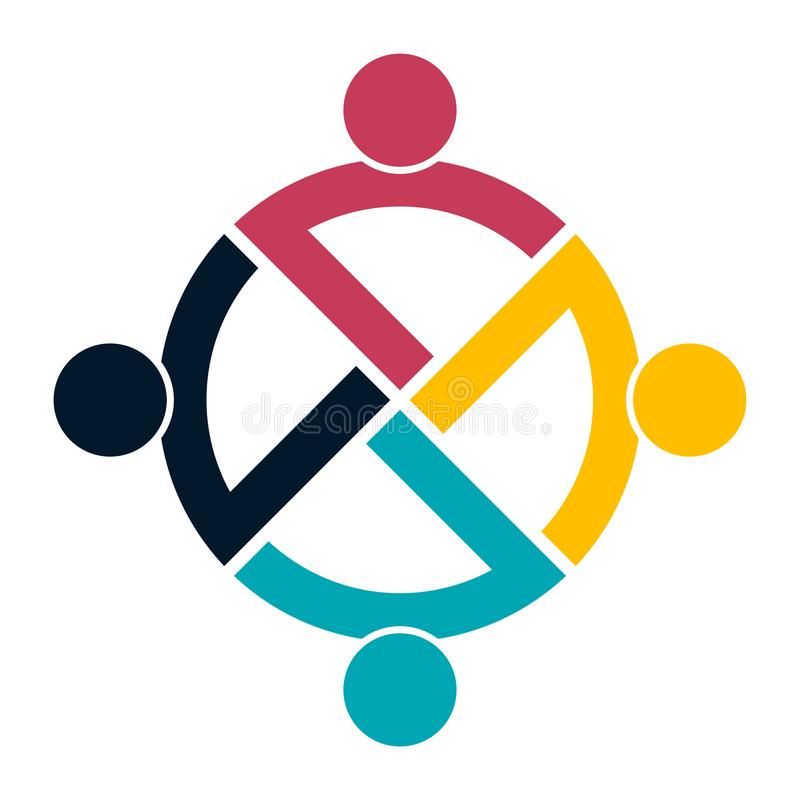 Het embleemhanddruk van groepsmensen in een cirkel, Groepswerkpictogram Vector illustrator stock illustratie