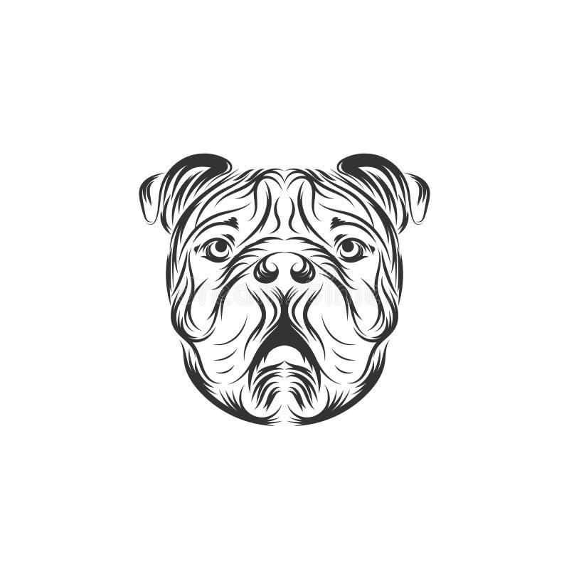 Het embleemillustratie van het buldog zwarte vectorpictogram vector illustratie