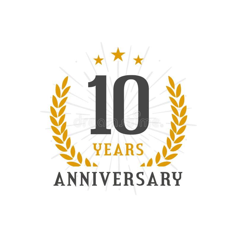 10 het embleemjaar kenteken van de Verjaardags van het gouden lauwerkrans vector illustratie