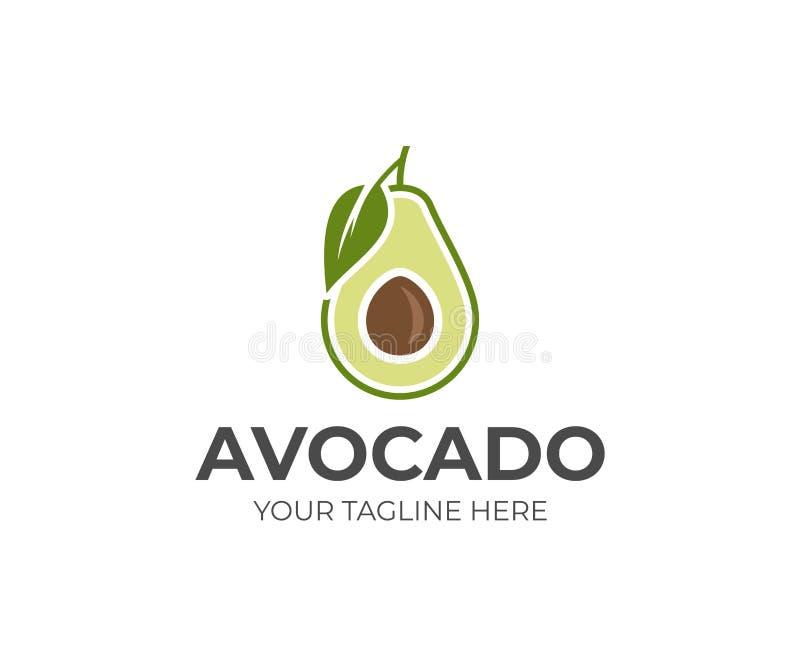 Het embleemmalplaatje van het avocadofruit Avocado half met blad vectorontwerp stock illustratie