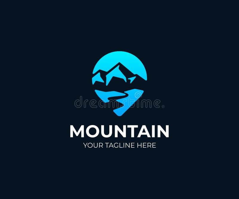 Het embleemmalplaatje van het bergpunt Van de bergrivier en wijzer vectorontwerp stock illustratie