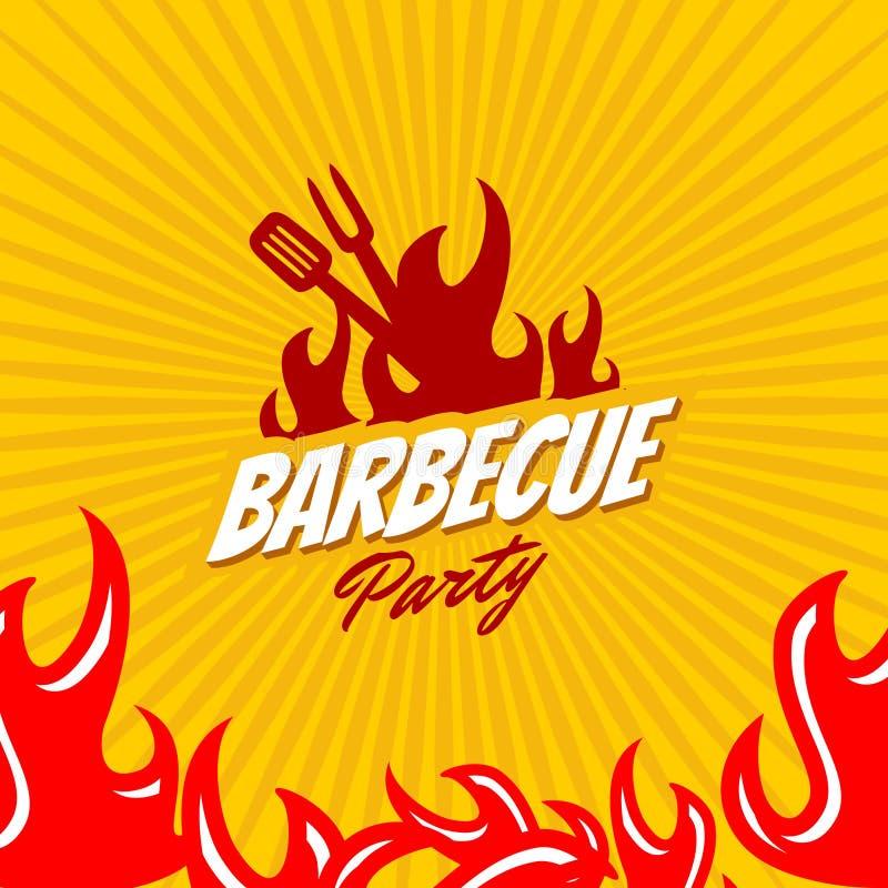 Het embleemmalplaatje van de barbecuepartij stock illustratie