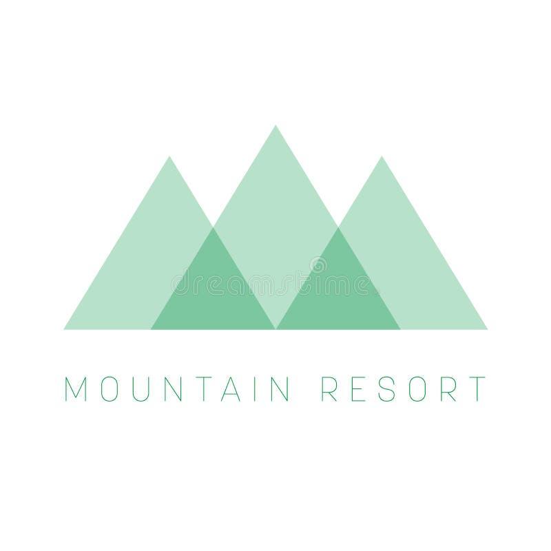 Het embleemmalplaatje van de bergtoevlucht Groene driehoeksvorm logotype voor commercieel of reisbedrijf Vector illustratie stock illustratie
