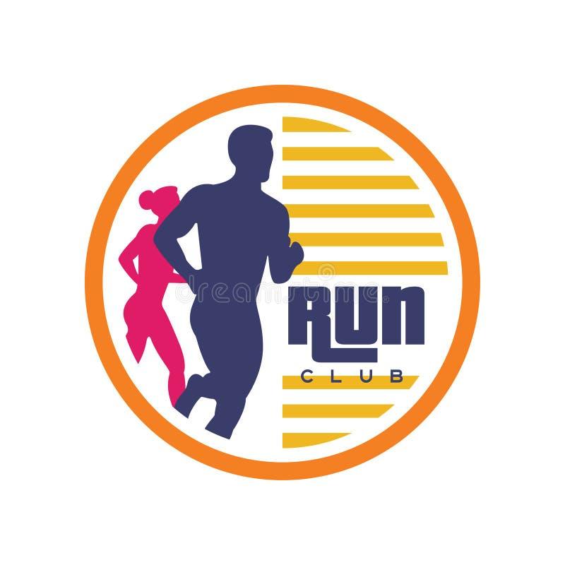 Het embleemmalplaatje van de looppasclub, embleem met de abstracte lopende mens en vrouwensilhouetten, etiket voor sportclub, spo royalty-vrije illustratie