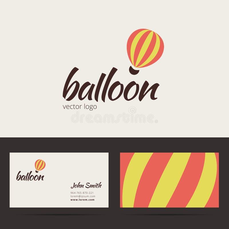 Het embleemmalplaatje van de luchtballon met adreskaartje royalty-vrije illustratie