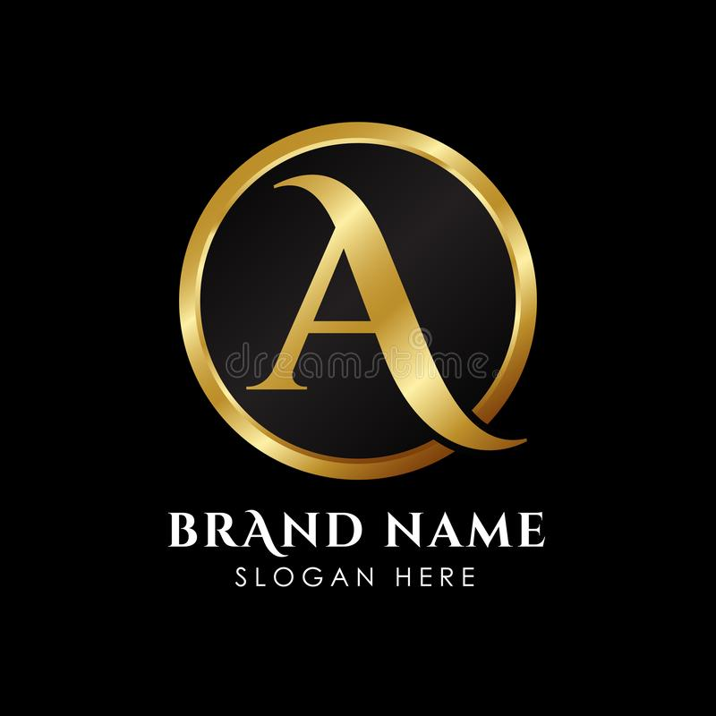 het embleemmalplaatje van de luxebrief A in gouden kleur Koninklijke het malplaatjevector van het premieembleem royalty-vrije illustratie