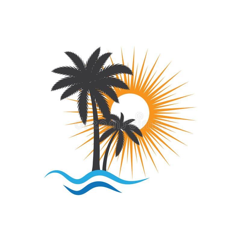 Het embleemmalplaatje van de palmzomer stock illustratie