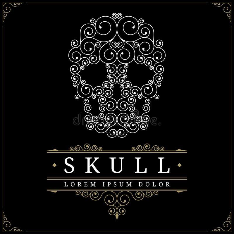 Het embleemmalplaatje van de schedel retro uitstekend luxe stock illustratie