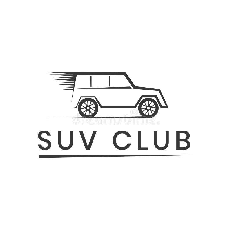Het embleemmalplaatje van de Suvclub Van het embleem van de wegconcurrentie Avontuur en autoelementen Vectordieillustratie op wit royalty-vrije illustratie