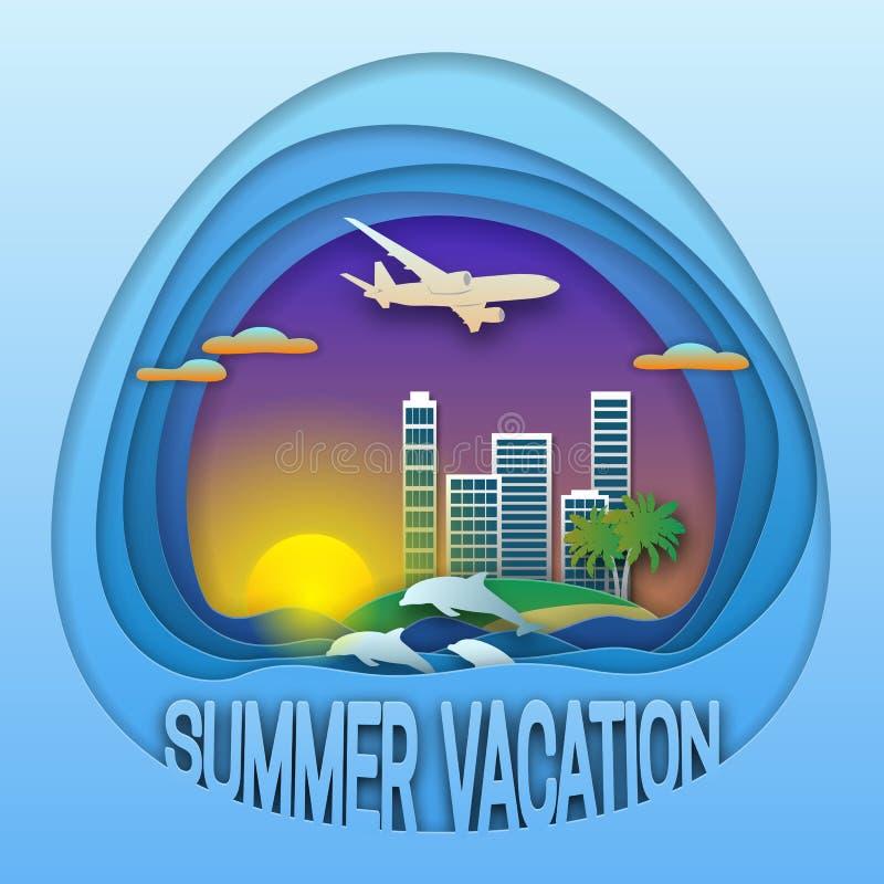 Het embleemmalplaatje van de de zomervakantie Zonsondergang met toevluchtstad, palmen, vliegtuigen in de hemel, dolfijnen in over royalty-vrije illustratie