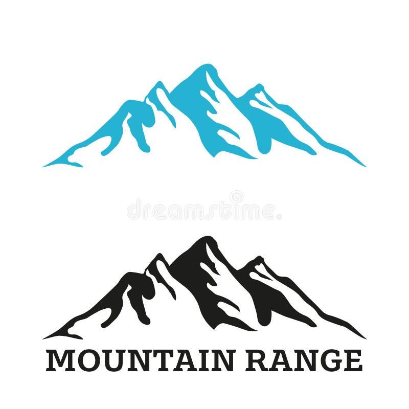 Het embleemmalplaatje van het bergketensilhouet royalty-vrije illustratie