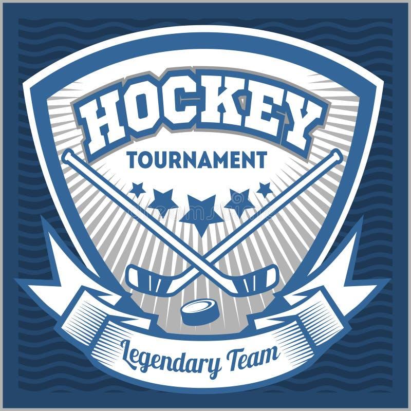 Het embleemmalplaatje van het hockeyteam Embleem, logotype stock illustratie