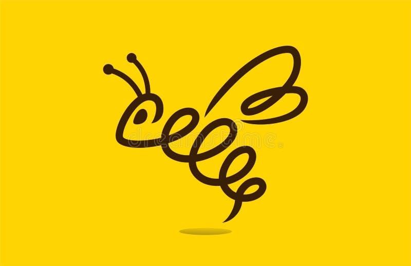 Het embleemmalplaatje van het honingbijconcept stock illustratie