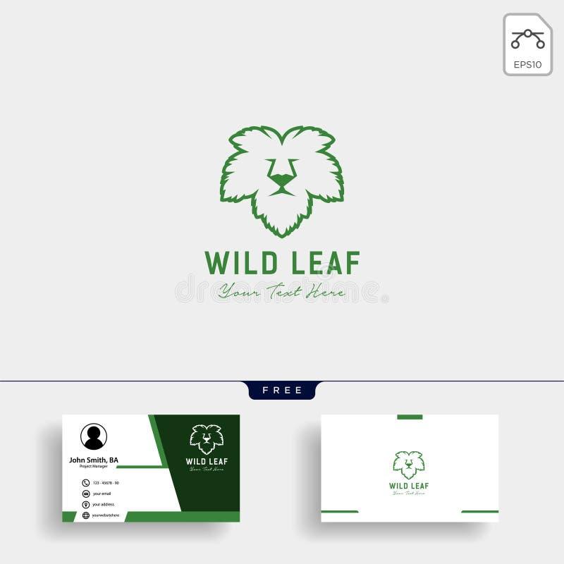 Het embleemmalplaatje van het leeuw wild blad met adreskaartje vector illustratie