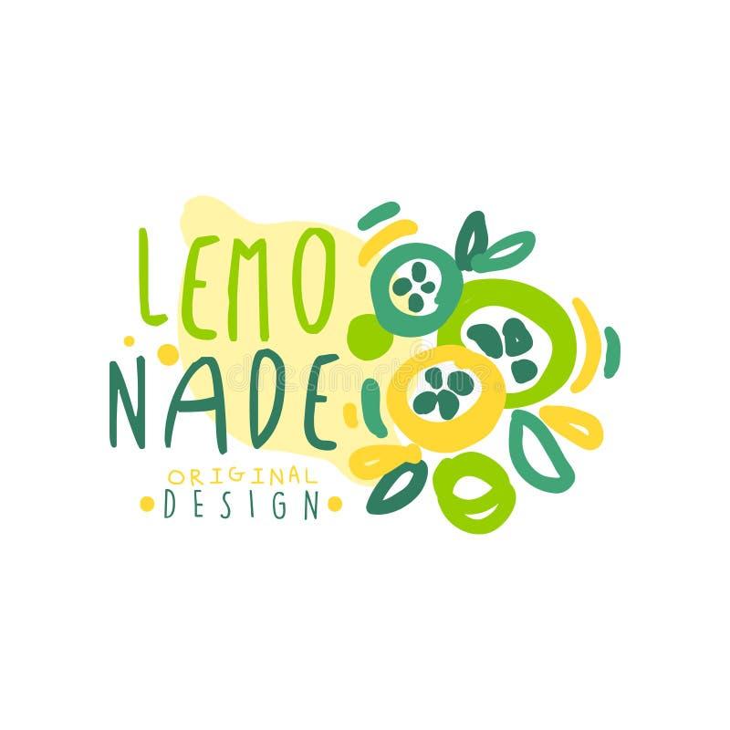 Het embleemmalplaatje van het limonade origineel ontwerp, de kleurrijke hand getrokken vectorillustratie van het natuurlijk produ stock illustratie