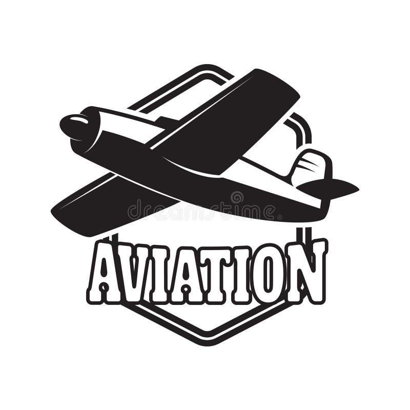 Het embleemmalplaatje van het luchtvaart opleidingscentrum met retro vliegtuig Ontwerpelement voor embleem, etiket, embleem, teke stock illustratie