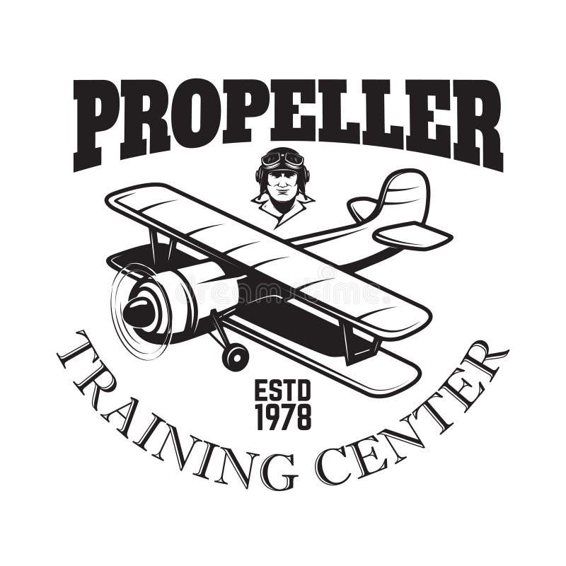 Het embleemmalplaatje van het luchtvaart opleidingscentrum met retro vliegtuig Ontwerpelement voor embleem, etiket, embleem, teke vector illustratie