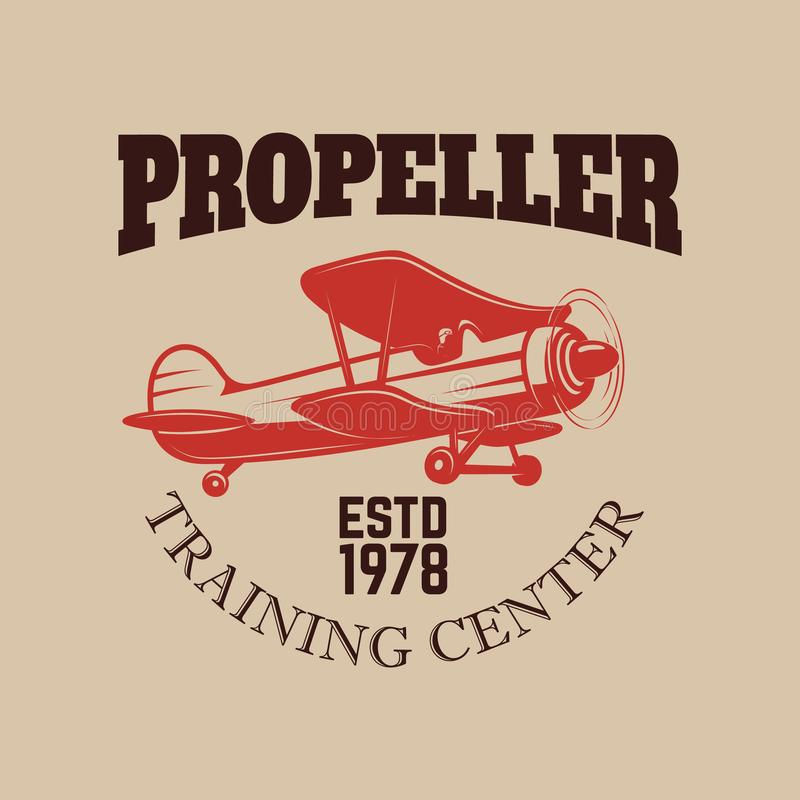 Het embleemmalplaatje van het luchtvaart opleidingscentrum met retro vliegtuig Ontwerpelement voor embleem, etiket, embleem, teke royalty-vrije illustratie
