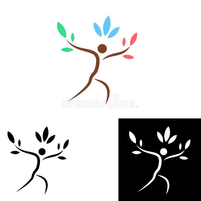 Het embleemontwerp van de boompersoon vector illustratie