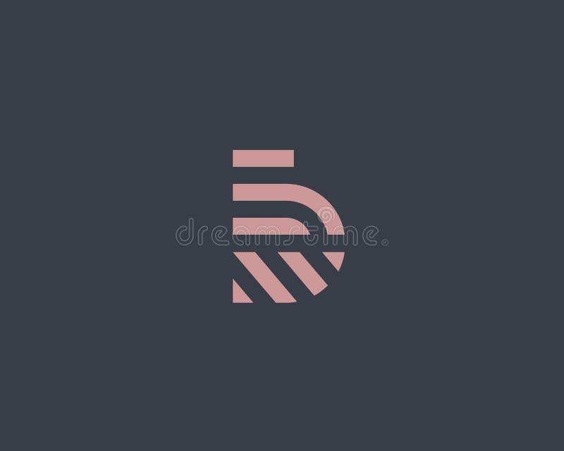 Het embleemontwerp van de brievenb vectorlijn Het creatieve symbool van het minimalism logotype pictogram stock illustratie