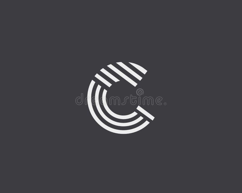 Het embleemontwerp van de brievenc vectorlijn Het creatieve symbool van het minimalism logotype pictogram vector illustratie