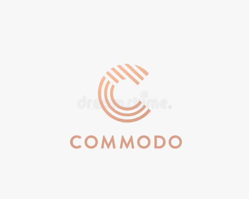 Het embleemontwerp van de brievenc vectorlijn Het creatieve symbool van het minimalism logotype pictogram stock illustratie