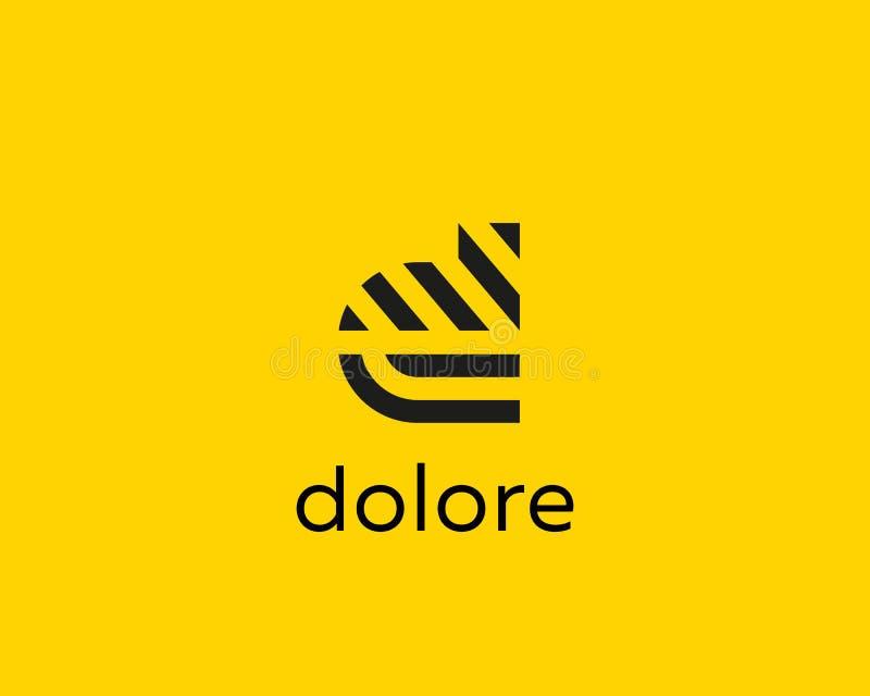 Het embleemontwerp van de brievend vectorlijn Het creatieve symbool van het minimalism logotype pictogram royalty-vrije illustratie