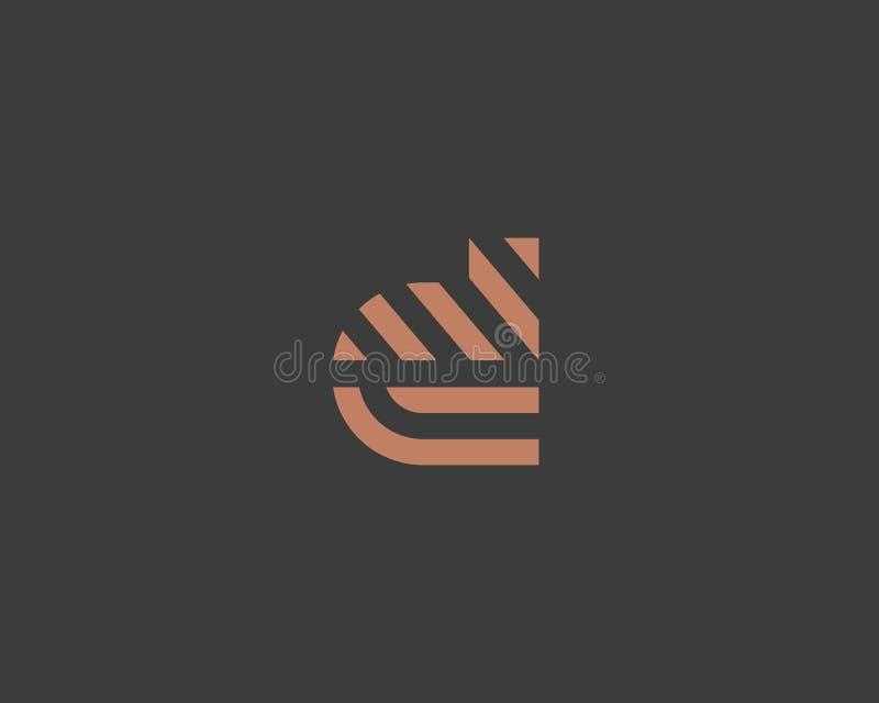 Het embleemontwerp van de brievend vectorlijn Het creatieve symbool van het minimalism logotype pictogram stock illustratie