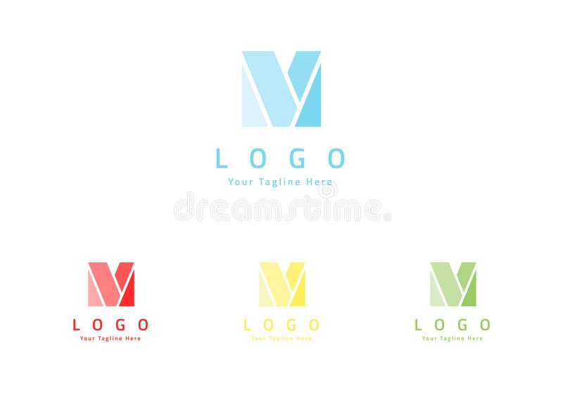 Het embleemontwerp van de brievenm lijn Het embleemontwerp van de brievenm lijn Lineair creatief minimaal zwart-wit monogramsymbo royalty-vrije illustratie