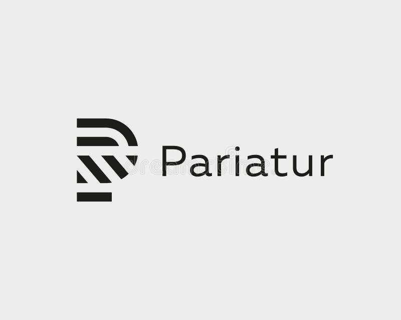 Het embleemontwerp van de brievenp vectorlijn Het creatieve symbool van het minimalism logotype pictogram stock illustratie