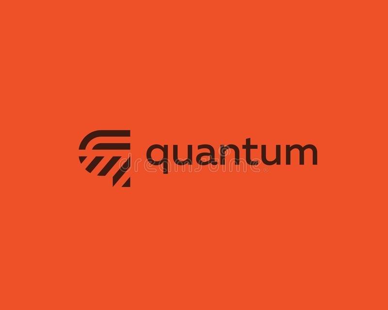 Het embleemontwerp van de brievenq vectorlijn Het creatieve symbool van het minimalism logotype pictogram vector illustratie