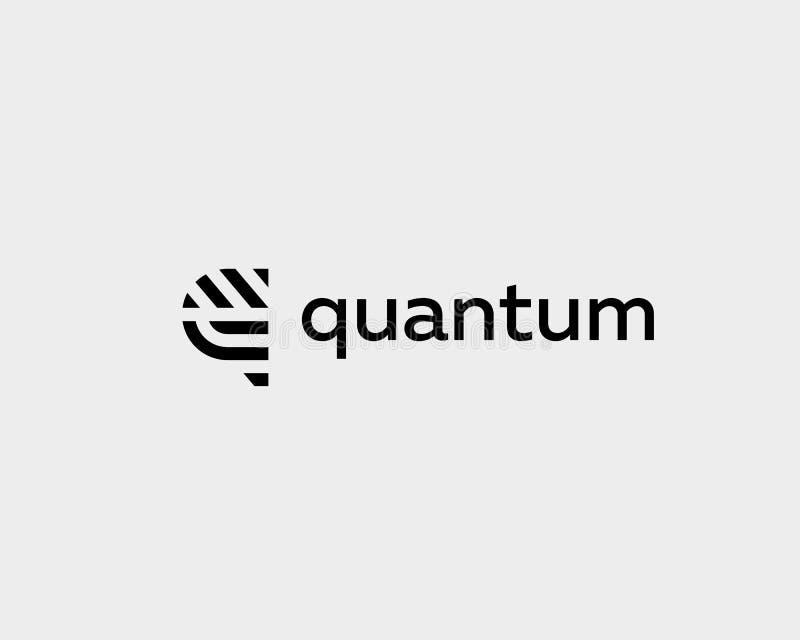 Het embleemontwerp van de brievenq vectorlijn Het creatieve symbool van het minimalism logotype pictogram stock illustratie