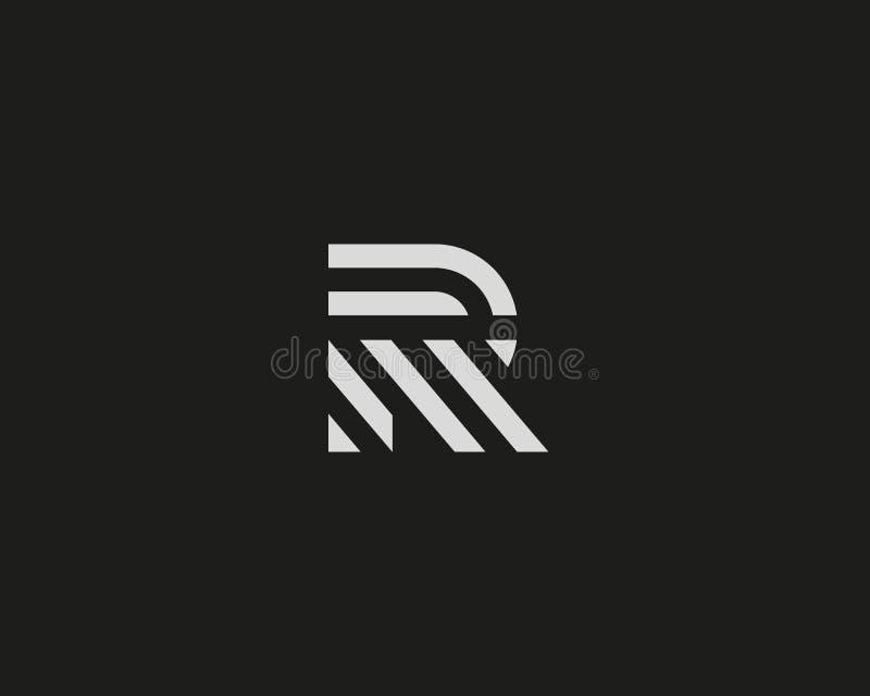 Het embleemontwerp van de brievenr vectorlijn Het creatieve symbool van het minimalism logotype pictogram stock illustratie
