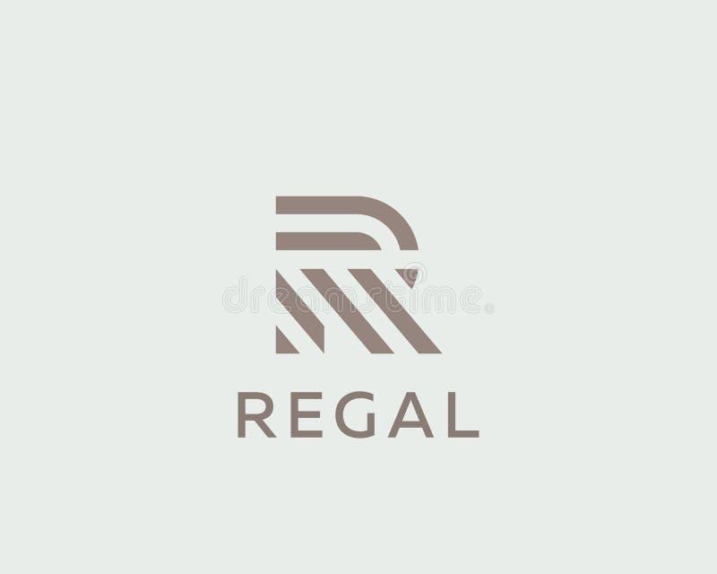 Het embleemontwerp van de brievenr vectorlijn Het creatieve symbool van het minimalism logotype pictogram vector illustratie