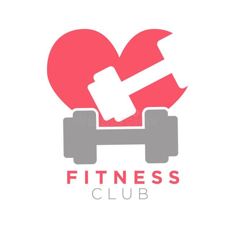 Het embleemontwerp van de geschiktheidsclub met domoren op achtergrond van hart royalty-vrije illustratie