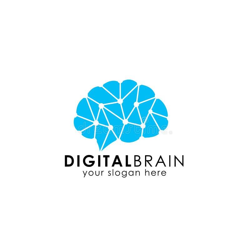 Het embleemontwerp van de hersenenhub het embleem van de hersenenverbinding digitale hersenenvector royalty-vrije illustratie