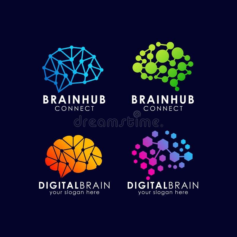 Het embleemontwerp van de hersenenverbinding het digitale malplaatje van het hersenenembleem royalty-vrije illustratie