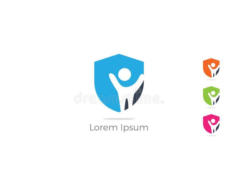 Het embleemontwerp van de mensenveiligheid Jonge geitjes en familieverzekeringspictogram Zorg en beschermingsillustratie Mensen i royalty-vrije illustratie