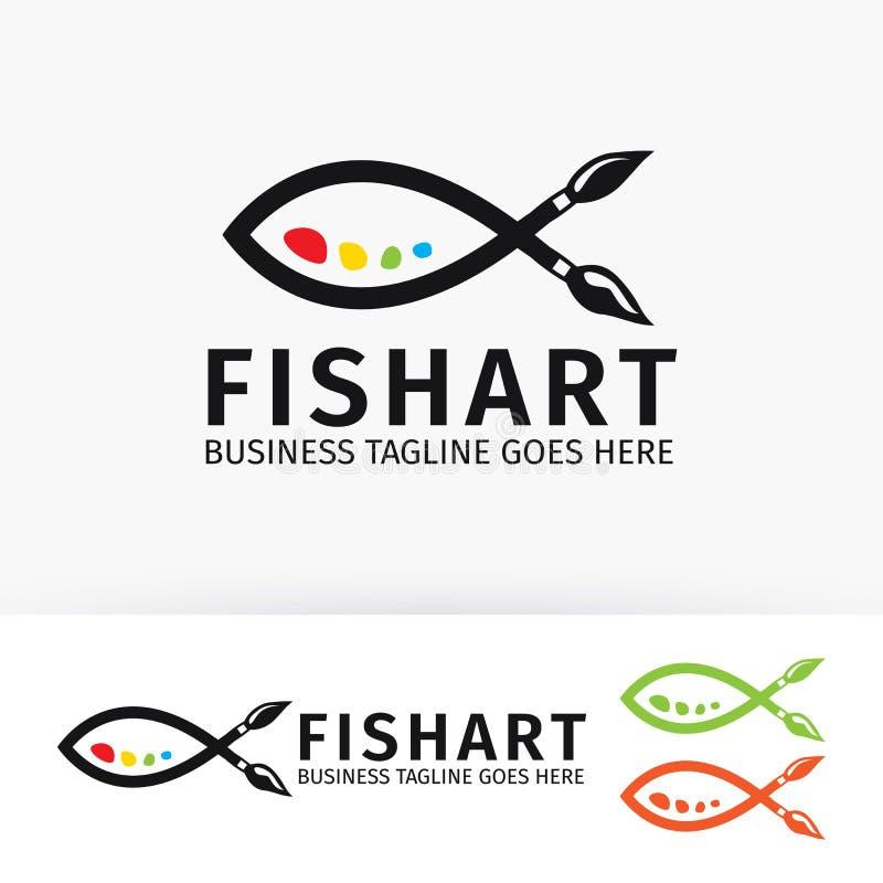 Het embleemontwerp van de vissenkunst royalty-vrije illustratie